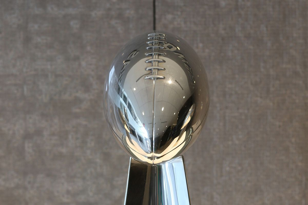 General view of the Vince Lombardi Trophy for Dallas Cowboys victory in Super Bowl XXVII on display at The Star at Cowboys World Headquarters.