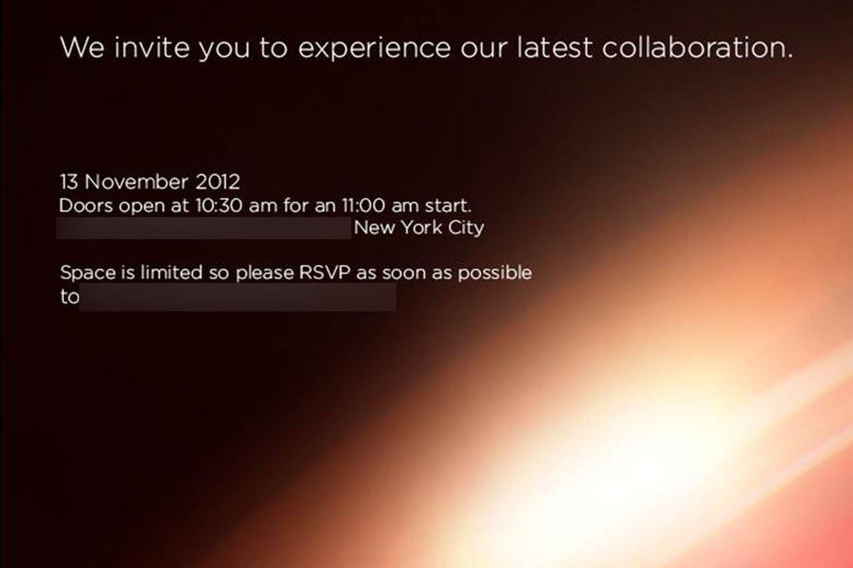 HTC Verizon event invite November 13th