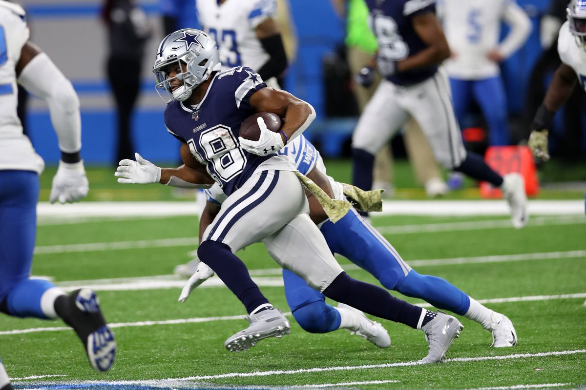Randall Cobb of the Dallas Cowboys runs after the catch during the game against the Detroit Lions at Ford Field on November 17, 2019 in Detroit, Michigan.