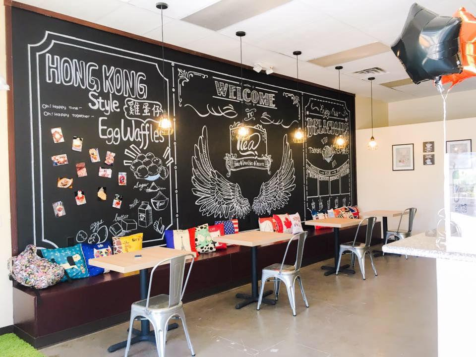 Bright restaurant interior with chalkboard paint
