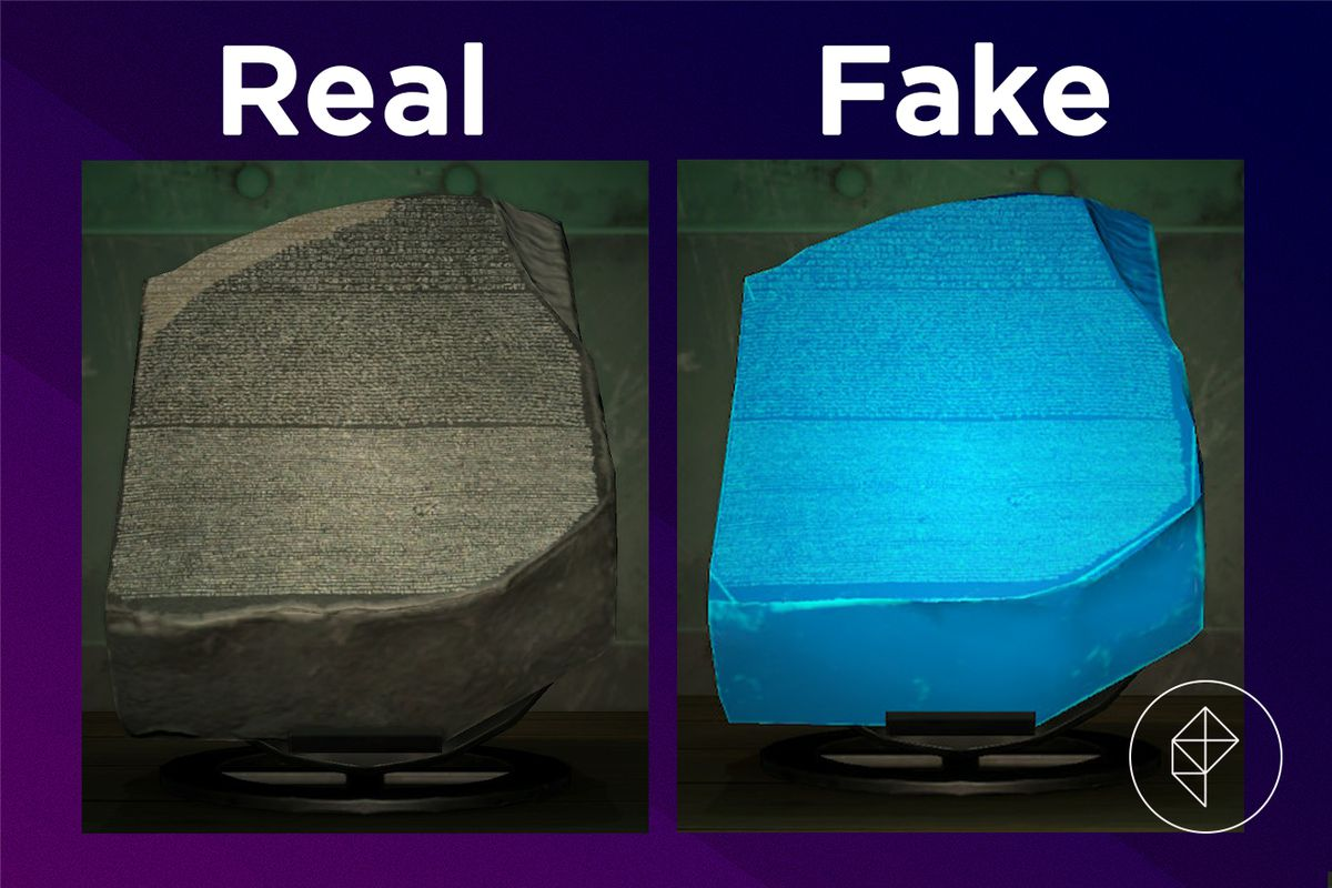 A comparison of the real and fake Informative Statue