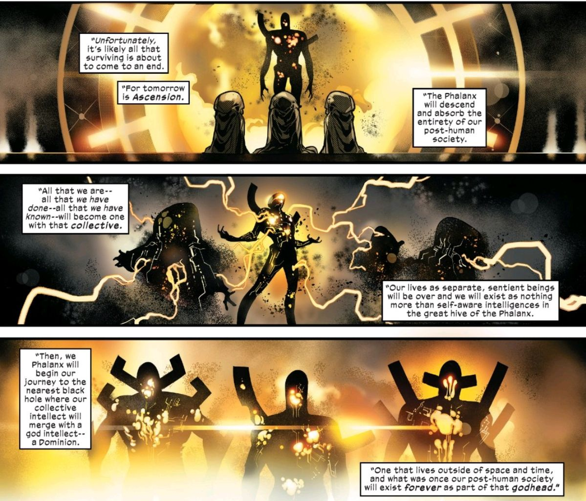 The Librarian explains that the Phalanx will absorb the consciousness of humanity, destroy all the matter of the planet Earth, and then journey to a black hole to merge with a Dominion intelligence, in Powers of X #6, Marvel Comics (2019).
