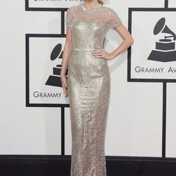 Shimmer is definitely having a moment at this year's Grammys. Taylor Swift in Gucci.