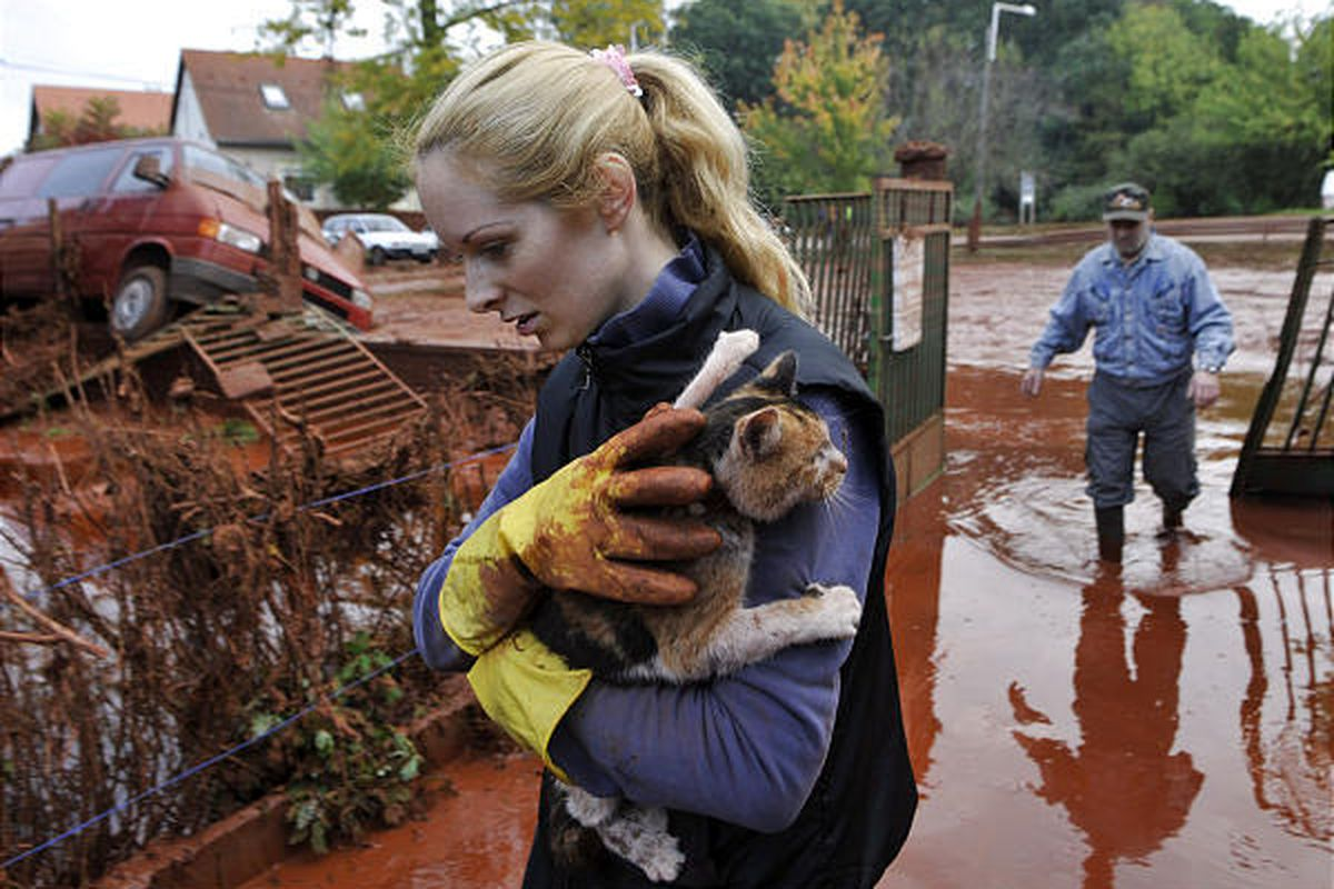 Tunde Erdelyi, left, saves her cat while Janos Kis, right, walks into a yard flooded by toxic mud in Hungary.