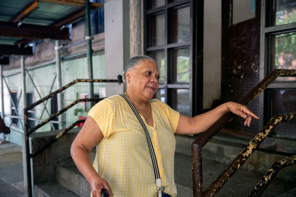 NYCHA resident Nellie Morello spoke about repairs through the RAD program in her Washington Heights building on West 177th Street, July 7, 2021.