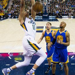 Utah Jazz guard Dante Exum #11 dunks during game four of the Western Conference Semifinal at Vivant Smart Home Arena in Salt Lake City on Monday, May 8, 2017.