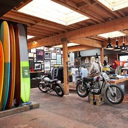 """Finally, end your day at menswear-heavy motorcycle shop and coffee bar <a href=""""http://deuscustoms.com/"""">Deus Ex Machina</a> (1001 Venice Blvd). Offering custom-built rides (and according to some, the biker 'tude to match), hand-shaped surfboards, luxe si"""