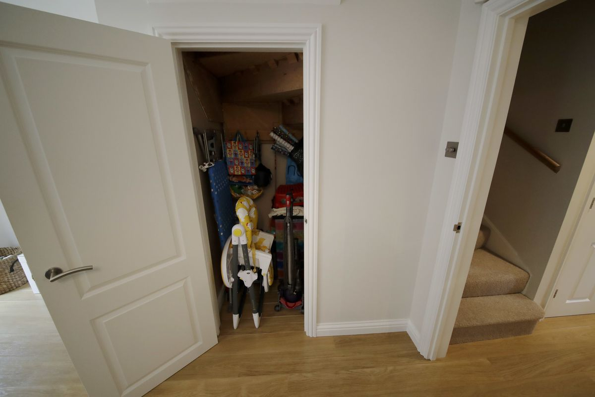 A cupboard under the stairs, which was replaced by one filmed in a studio, is shown in the house for sale that starred onscreen as Harry Potter's childhood home in the town of Bracknell, England, just over 30 miles west of central London.  Fans of the boy