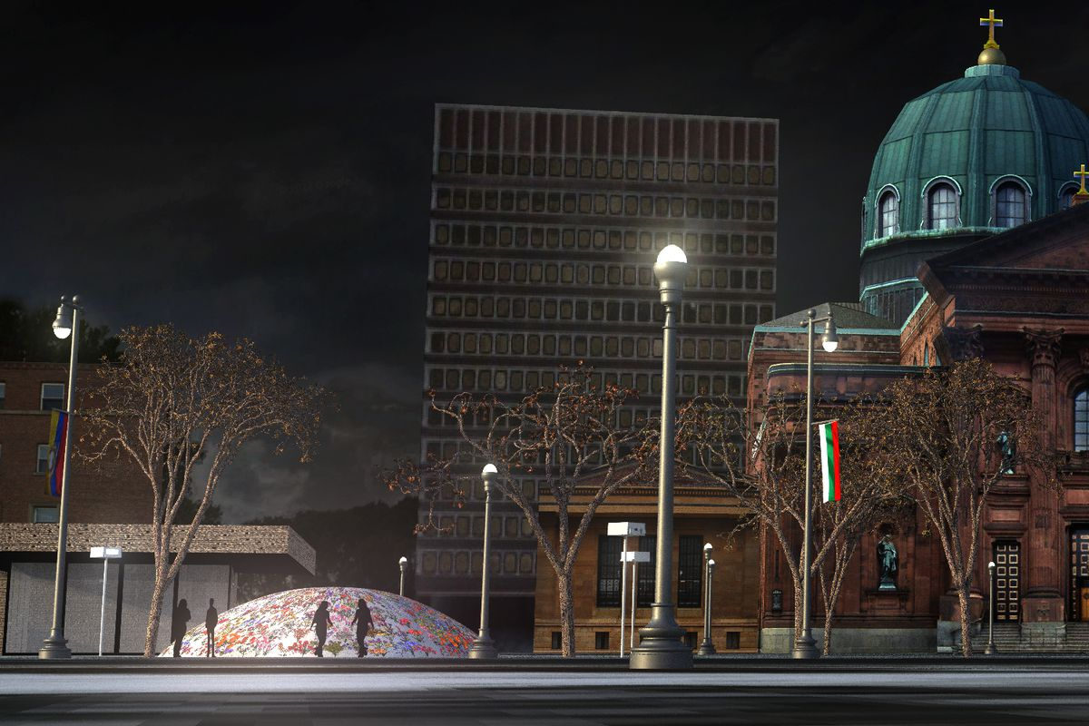 A rendering of a glowing, colorful dome structure on Philadelphia's Benjamin Franklin Parkway.