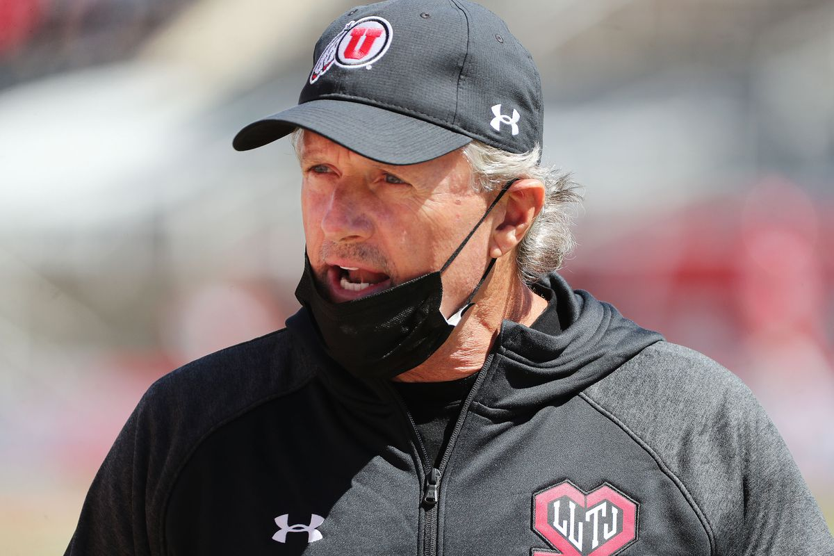 Utah Utes head coach Kyle Whittingham talks to players during the Red and White game.