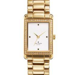"""Waldorf Bracelet in gold, <a href=""""http://www.katespade.com/waldorf-strap/1YRU0067,default,pd.html?dwvar_1YRU0067_color=045&start=46&cgid=watches"""">$250</a>."""