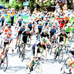 Riders start the first of two circuits in Park City before starting out on the road in stage seven of the Larry H. Miller Tour of Utah on Sunday, Aug. 7, 2016.