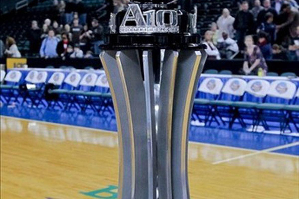 Mar 11, 2012; Atlantic City, NJ, USA;  2012 Atlantic 10 Tournament trophy at Boardwalk Hall.