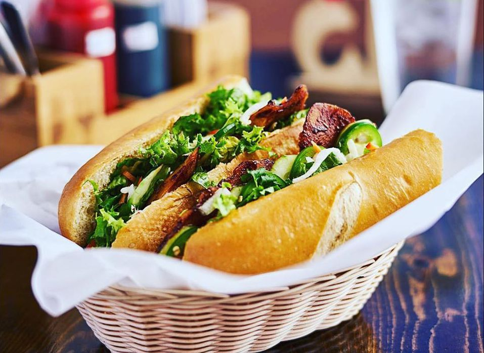 The vegan barbecue pork banh mi sandwich at VeggiEAT Xpress, now open for take out.