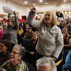 Tami Sablan yells during a town hall meeting with Rep. Jason Chaffetz in Cottonwood Heights on Thursday, Feb. 9, 2017.