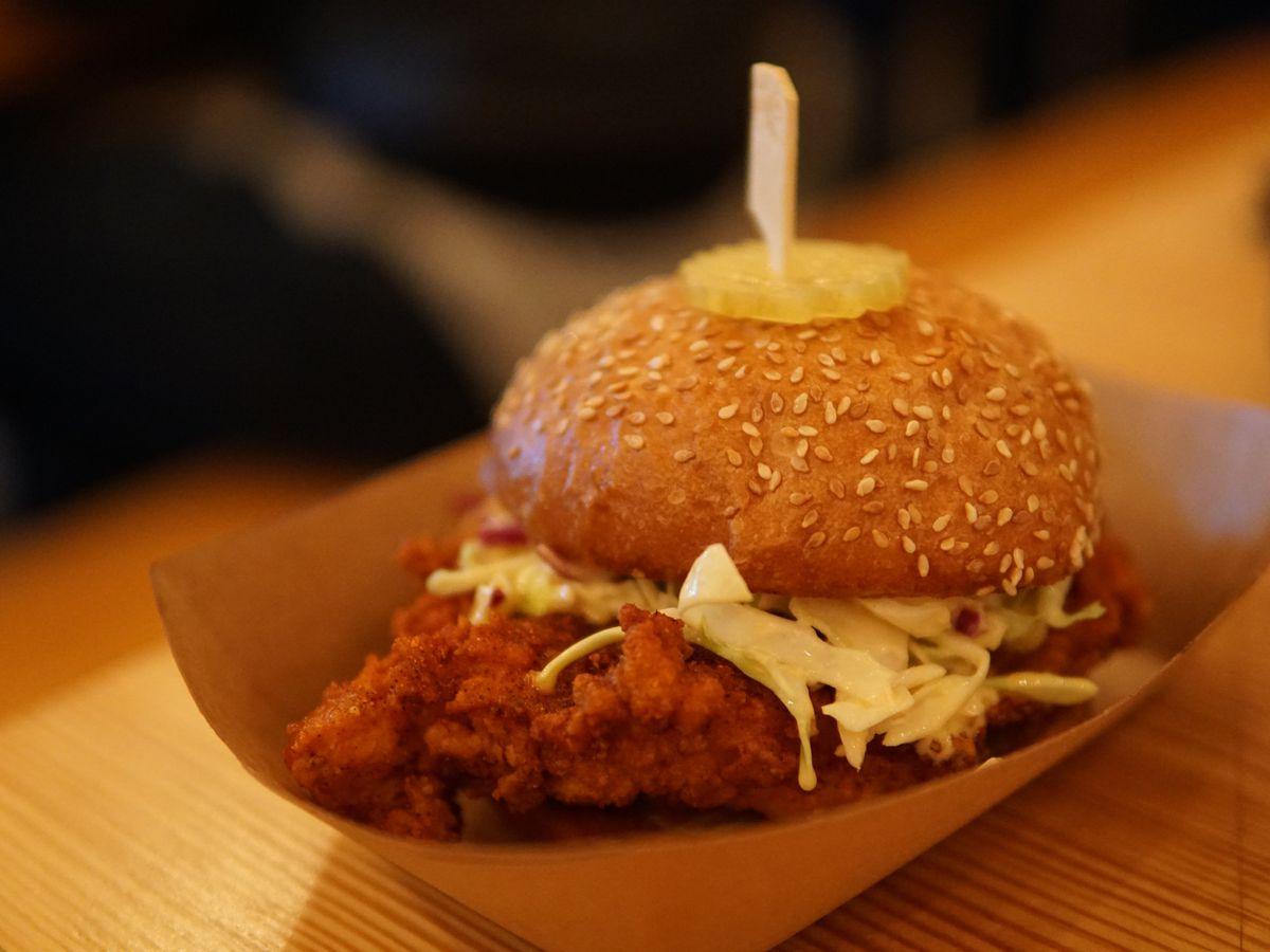 Nashville Hot: Hotandspicycrispychickensandwich, creamy coleslaw, dill pickle