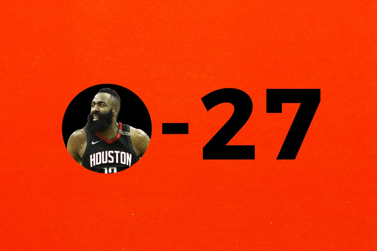"""""""0-27"""" with James Harden's face in the zero"""