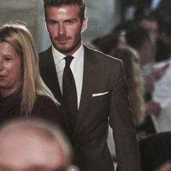 David Beckham arrives at the show for Victoria Beckham's Spring 2013 fashion collection on Sunday, Sept. 9, 2012 in New York.