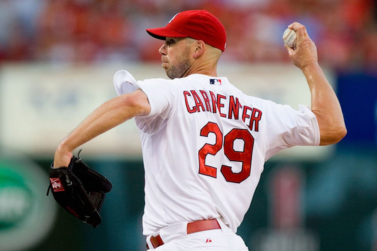 ST. LOUIS - JULY 15:  Starting pitcher Chris Carpenter #29 of the St. Louis Cardinals throws against the Los Angeles Dodgers at Busch Stadium on July 15 2010 in St. Louis Missouri.  (Photo by Dilip Vishwanat/Getty Images)