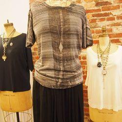 Brush Black Tee, $223; Black Chiffon Panel Skirt, $379