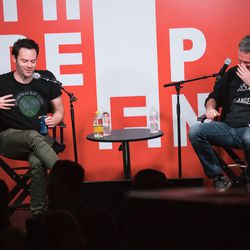 Bill Hader and Bill Simmons laughing it up during a live recording of the Bill Simmons Podcast!