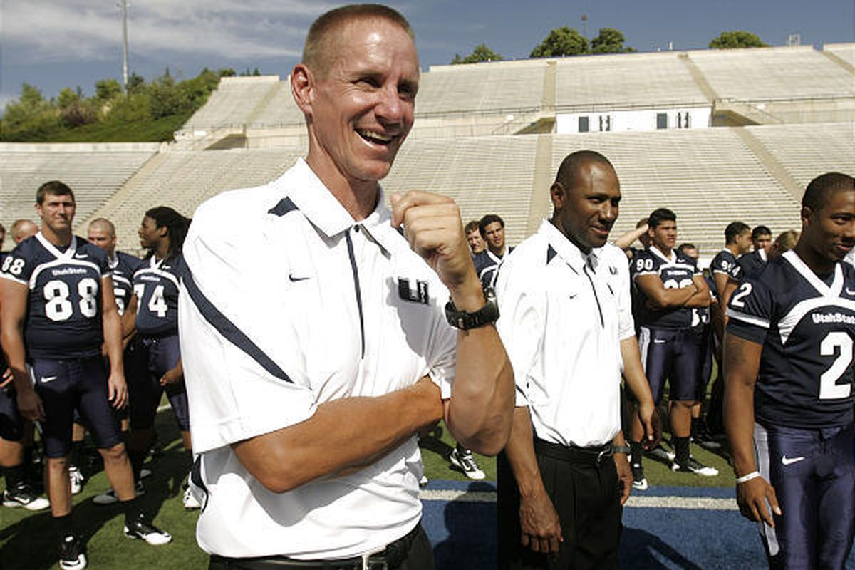 Utah State University football coach Gary Andersen laughs during media day in Logan on Aug. 11.