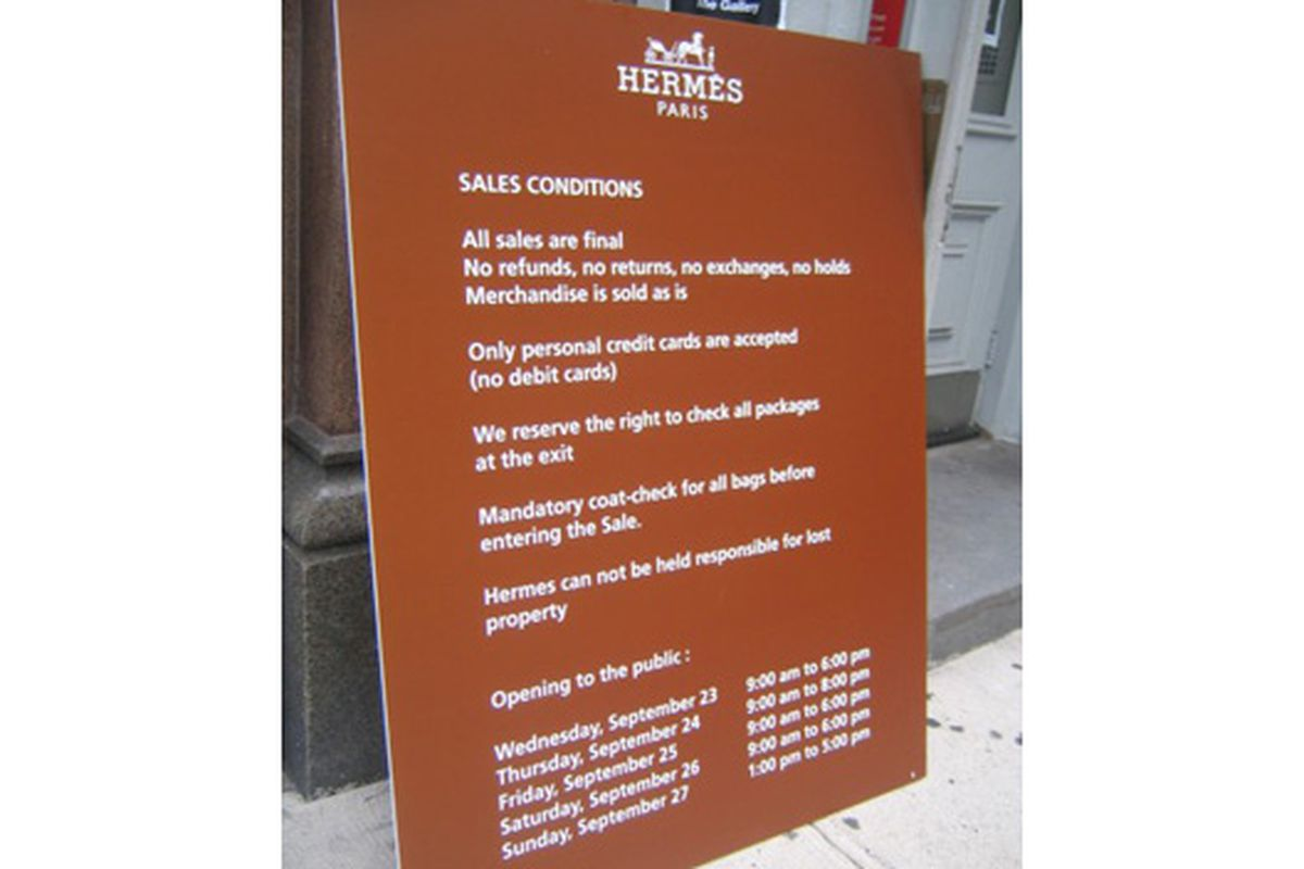 The sign outside the sale in September