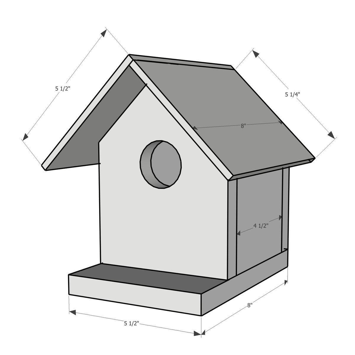 Dimensions for building a wooden birdhouse