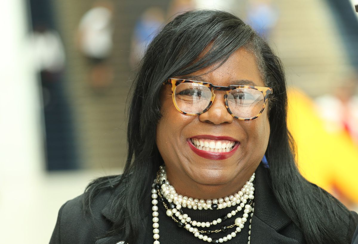 The Rev. Theresa Dear smiles while being interviewed during the 110th NAACP convention in Detroit on Sunday, July 21, 2019.