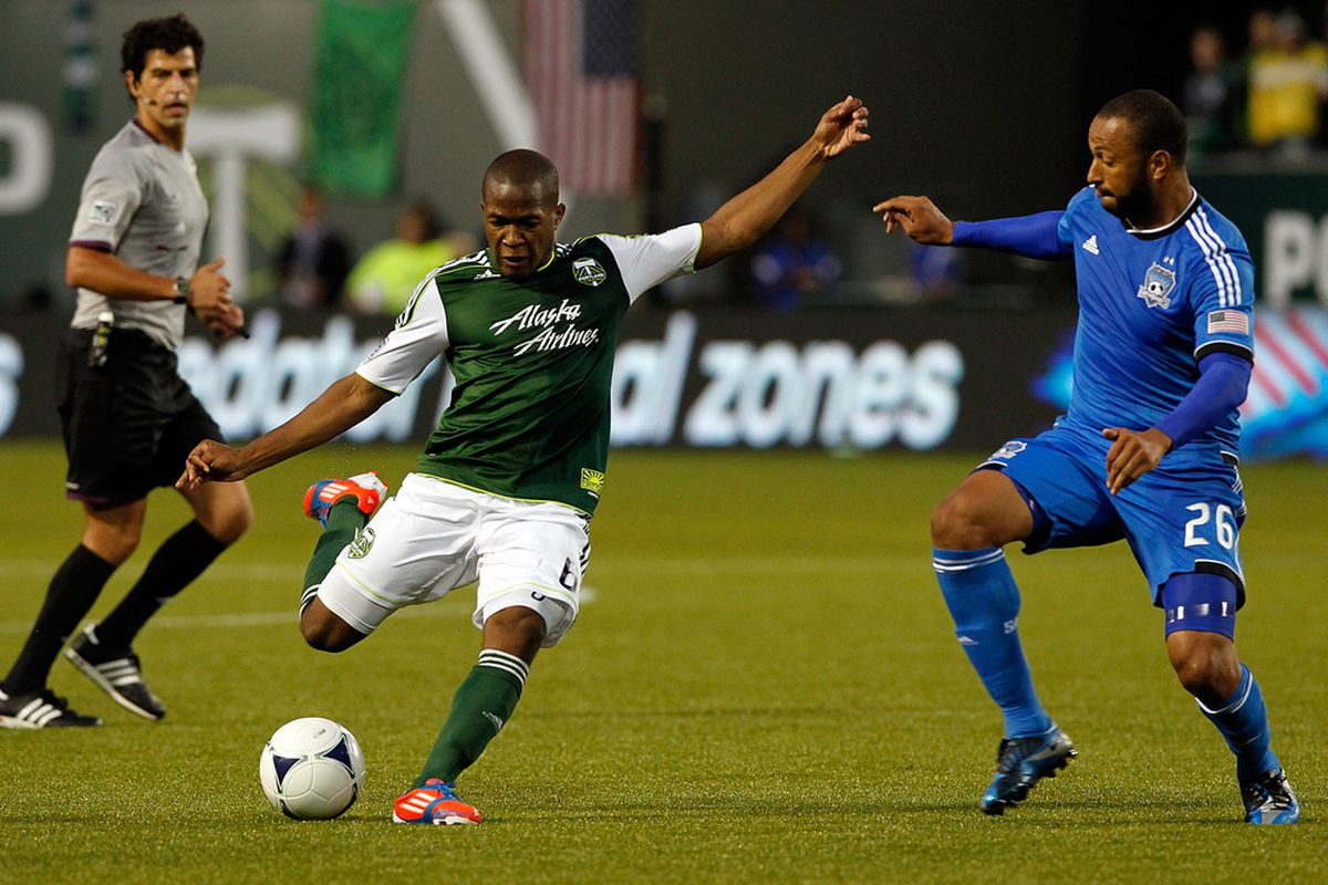 PORTLAND, OR - JULY 03:  Darlington Nagbe #6 of the Portland Timbers shoots the ball against Victor Bernardez #26 of the San Jose Earthquakes on July 3, 2012  at Jeld-Wen Field in Portland, Oregon.  (Photo by Jonathan Ferrey/Getty Images)