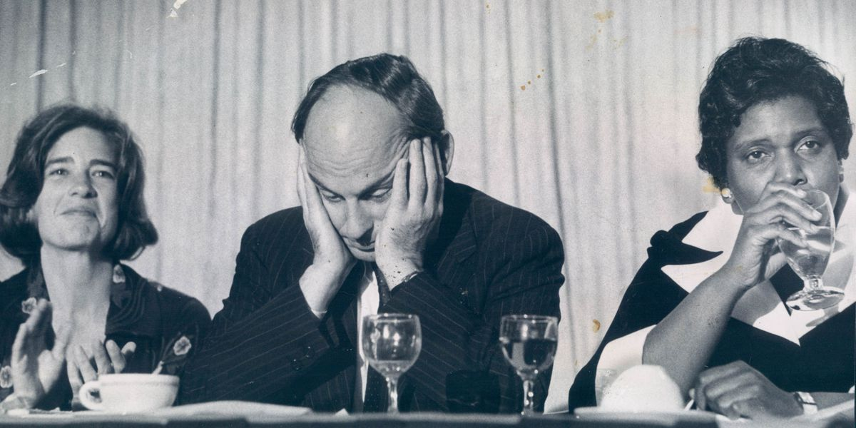 Sen. Adlai Stevenson III, D-Illinois, seems to be in deep thought before his speech at a party celebrating his 44th birthday in 1974.