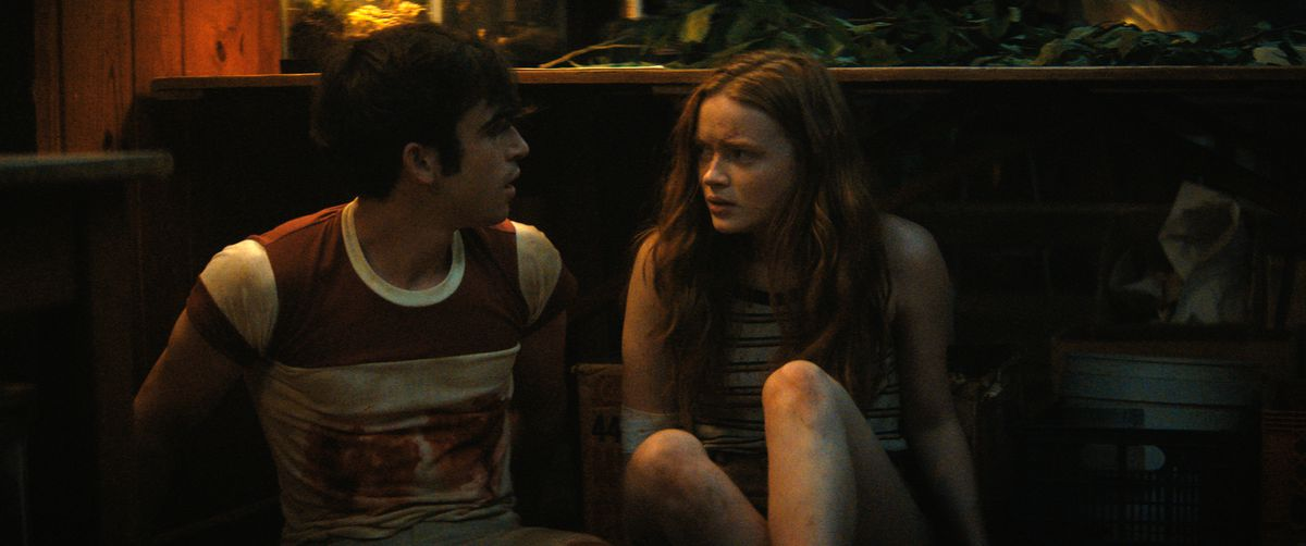 ED SUTHERLAND as NICK and SADIE SINK as ZIGGY in Fear Street Part Two: 1978