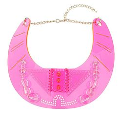 Accessories are always an easy way to spice up a look. Pair this piece with a black turtleneck are V-neck dress to stand out from the crowd! 'Mega Rave' Plastic Necklace, $60, topshop.com