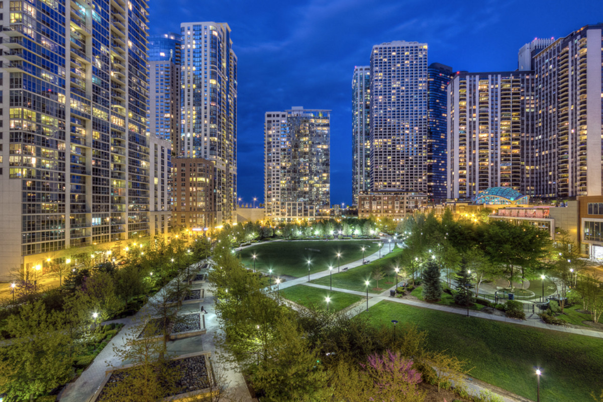 Lakeshore East development at night with street lights glowing.