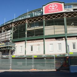 11:13 a.m. The Addison Street side of the front of the ballpark -