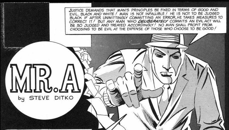 Mr. A, with his impassive steel mask, rants to the reader about the demands of justice, in a panel from a Mr. A story.