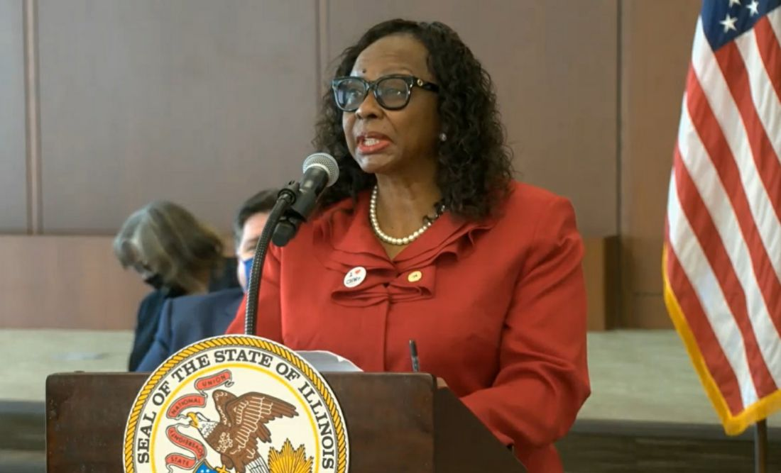 State Sen. Mattie Hunter, D-Chicago, speaks at Memorial Center for Learning and Innovation in Springfield on Tuesday.