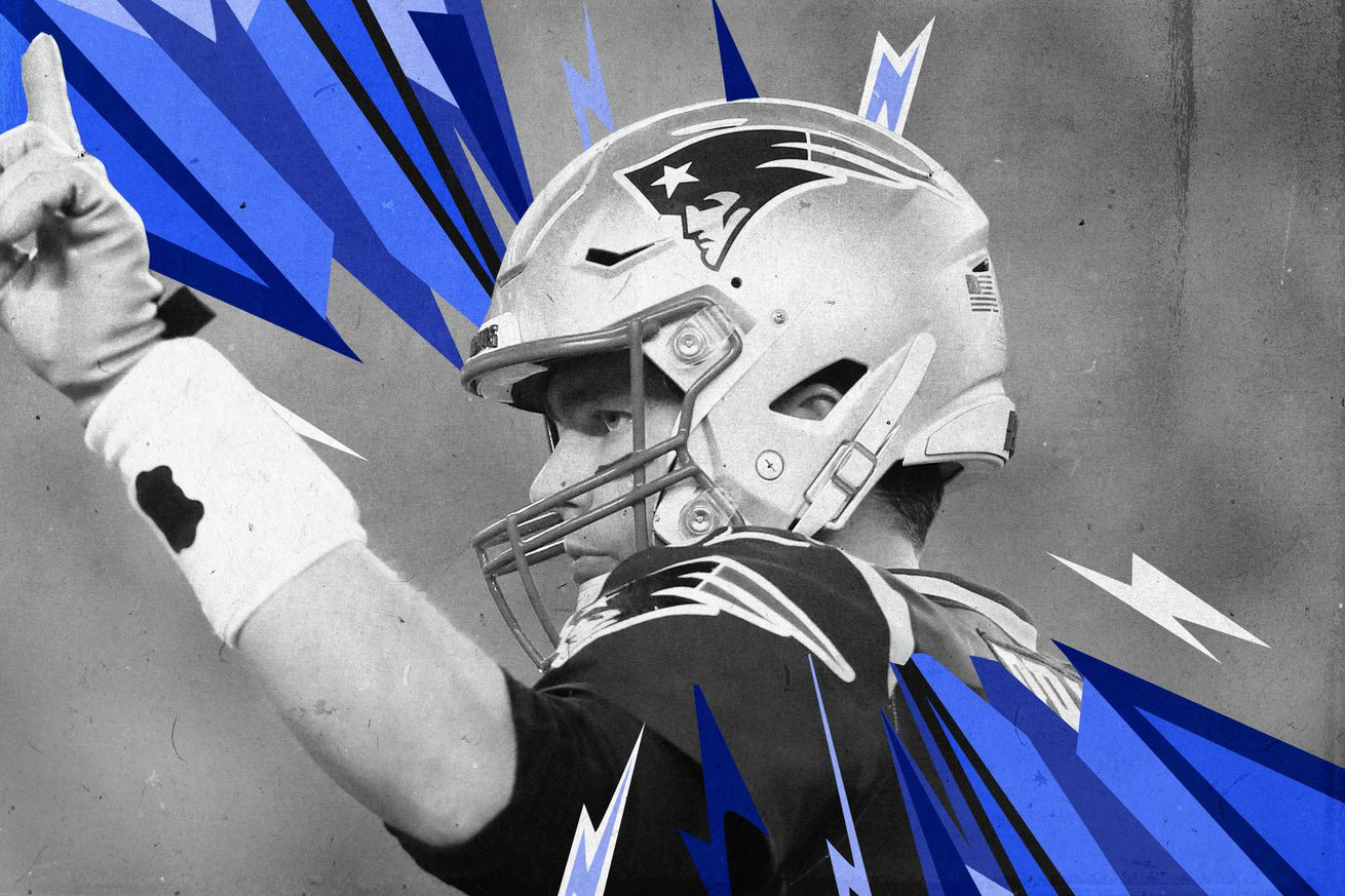 Patriots QB Tom Brady holds up a finger, superimposed on a gray background with blue and white lightning strikes