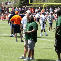 Broncos camp had visitors today, the CSU football coaching staff came by.