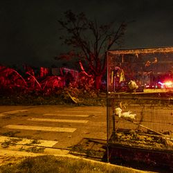 A bird cage full of doves sits outside a destroyed home on Jonquil Lane and Woodridge Drive, after a tornado touched down near suburban Woodridge, Monday, June 21, 2021.