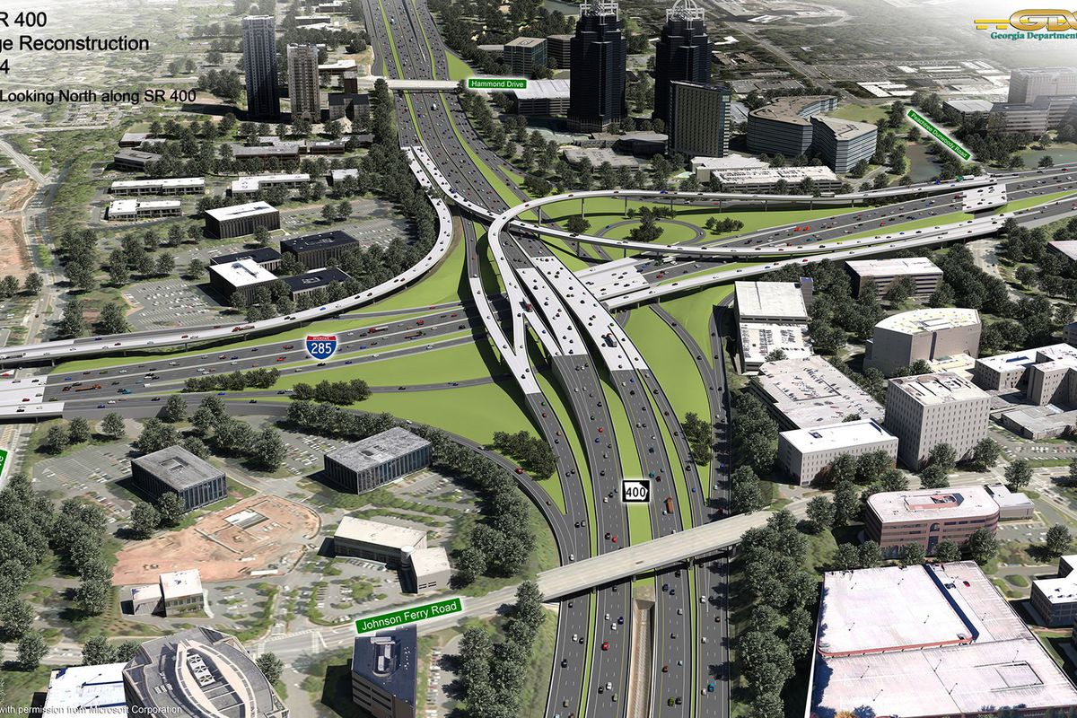 An aerial rendering of the reconstructed interchange.