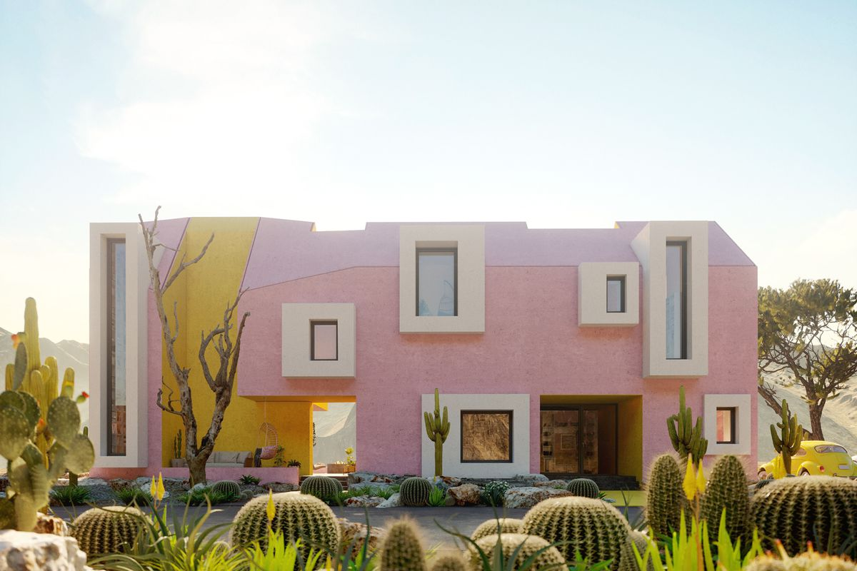 Rendering of a pink and yellow house with white trim.