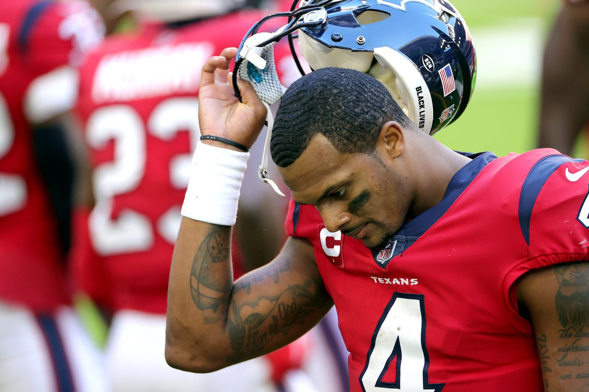 Deshaun Watson #4 of the Houston Texans reacts against the Indianapolis Colts during the second half at NRG Stadium on December 06, 2020 in Houston, Texas.