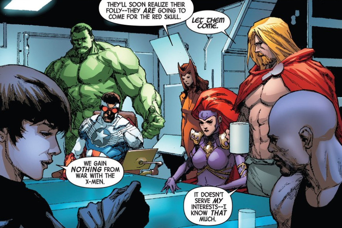 This is not a photo from the writers retreat. This is a panel from Axis, the kind of story forged from Marvel's writers' retreat.