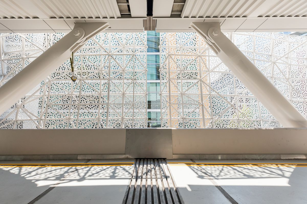 Light filtering through the lattice on the bus deck of the new Transbay Terminal.