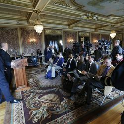 Sen. Jim Dabakis and Sen. Stephen Urquhart speak regarding legislative bill protections in housing, employment, and other areas for LGBT people during a news conference at the Utah State Capitol in Salt Lake City  Tuesday, Jan. 27, 2015.