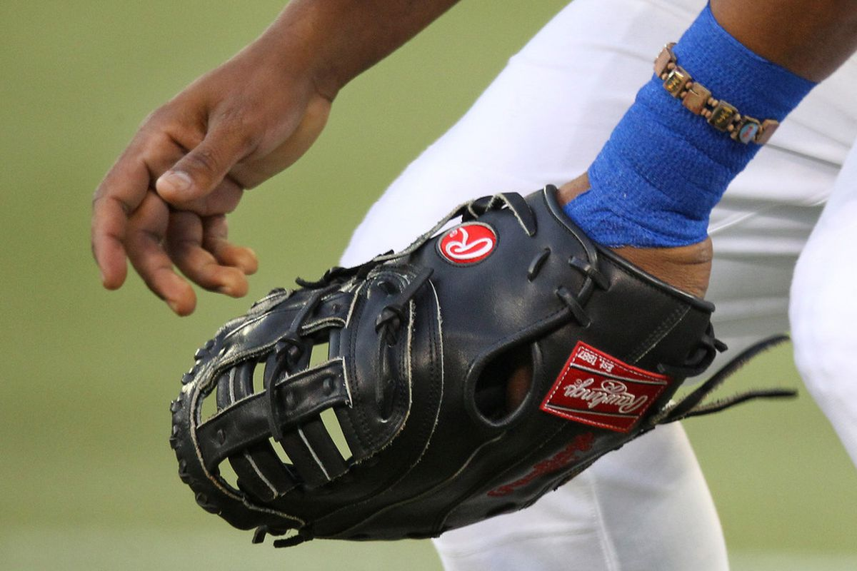 Sorry, I just liked this picture of Edwin's glove, getting set for a pitch. You can click on the picture to see other photos of tonight's game.  Credit: Tom Szczerbowski-US PRESSWIRE
