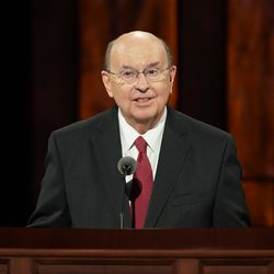 Elder Quentin L. Cook, a member of the Quorum of the Twelve Apostles, speaks during the Saturday morning session of the 190th Semiannual General Conference of The Church of Jesus Christ of Latter-day Saints on Oct. 3, 2020.