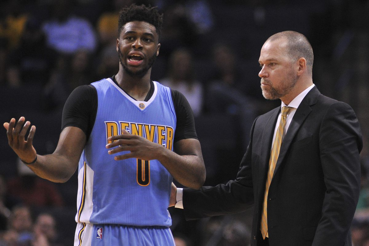 The made-up story I tell myself: Mudiay is trying to explain a turnover and Malone is trying to remain calm