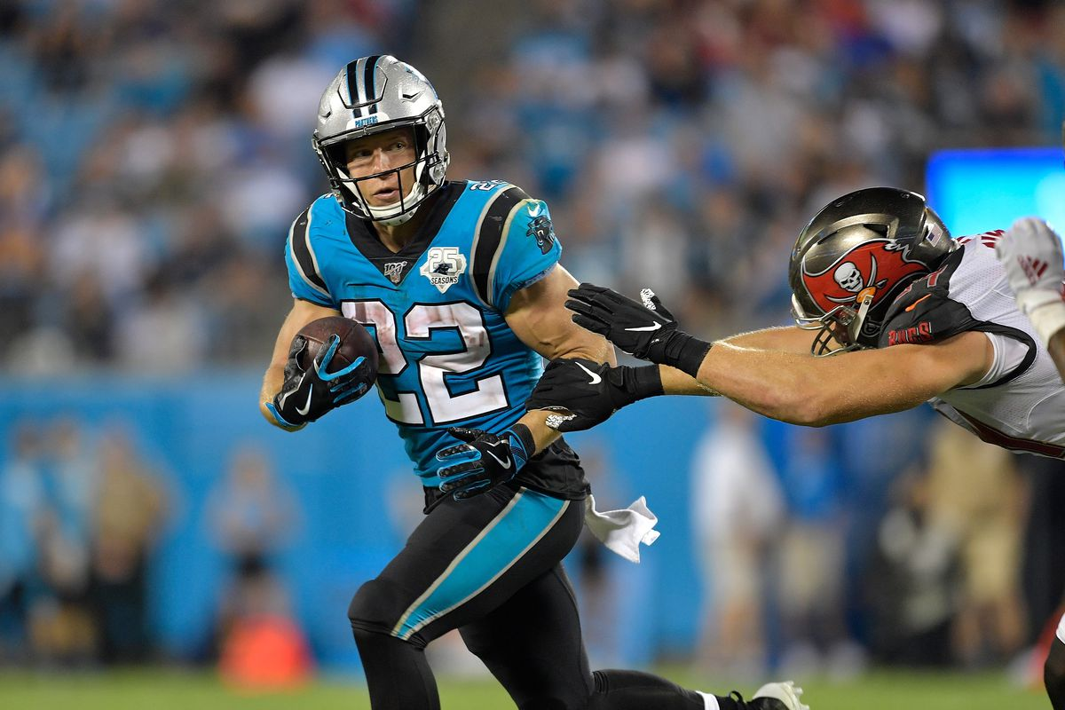 Christian McCaffrey of the Carolina Panthers against the Tampa Bay Buccaneers during their game at Bank of America Stadium on September 12, 2019 in Charlotte, North Carolina.